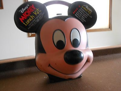 Mickey Mouse Lunch Box Aladdin Tags On Has Flaws Under Chin & Cheeks See Pics.