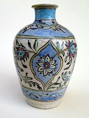 Antique Vintage Persian Poly-Chromed Iznik Hand Painted Pottery Vase Home Decor