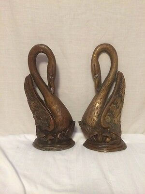 Pair Of Antique Brass Swan Geese Fire Place Andirons Firedogs