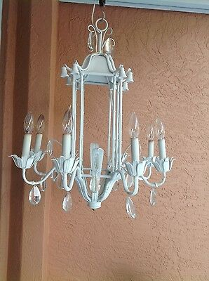 bamboo chandelier 50's Italian -White-8 light- prisms