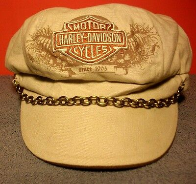 Harley Davidson Tan Cap Hat Global Products Velcro Back