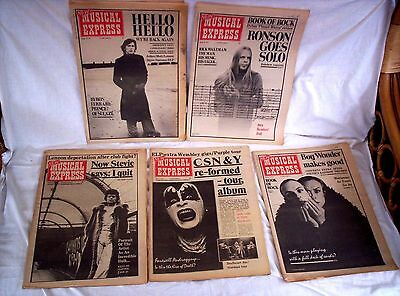 5 X New Musical Express,1974,jan/feb/mar,36+ Pages,d Bowie++Acceptable Condition