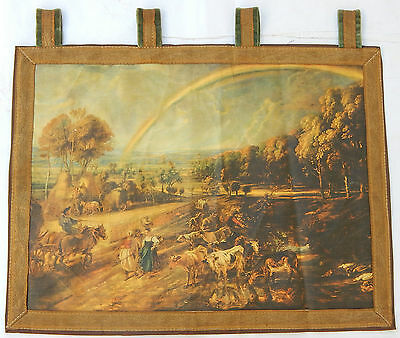 Vintage French Beautiful Village Scene Tapestry Wall Hanging 46x60cm T239