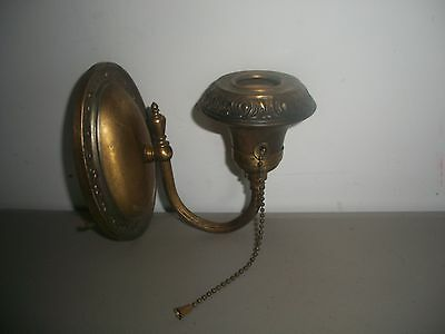 Vintage Brass Metal Wall Hanging Sconce Light with Pull Chain