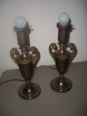 Vintage Lamps Antique Bronze / Brass Trophy Pair Lights
