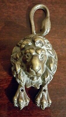 Lion Head Front Door Knocker Vintage Antique Cast Iron body brass