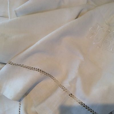 """French 100% Linen Sheet 82"""" by 120"""" Embroidery Vintage 1.4 kg French Linen"""
