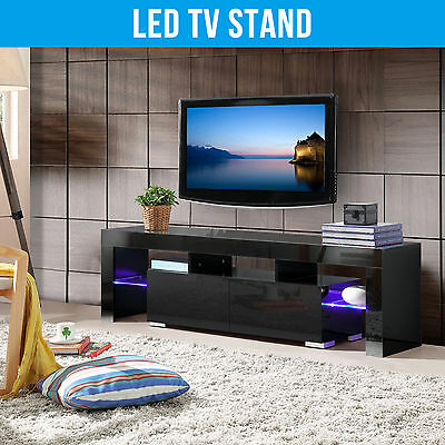 High Gloss Black TV Cabinet Unit Stand with FREE LED RGB Light 160CM Living Room