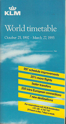 KLM Royal Dutch Airlines system timetable 10/25/92 [5071] Buy 2 get 1 free
