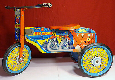 """Police Chief Trike Ride On Toy by Gong Ball MFG 1950 Wood Tin Tricycle 22"""" Long"""