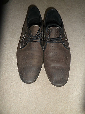 Mens New Look Brown Leather Smart Casual Lace Up Flat Shoes Size UK 6 EU 40