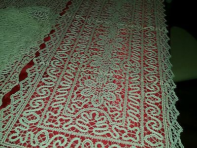 "ANTIQUE 1920'S  LACE SET OF 6 PLACEMATS TABLE RUNNER 44"" Long"
