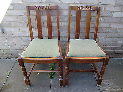 Vintage Oak Dining Chairs X 4 With Pale Green Velvet Padded Seat. 34 Inches Hgt