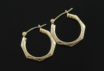 14K 19mm Etched Faceted Hollow Hoop Earrings Yellow Gold