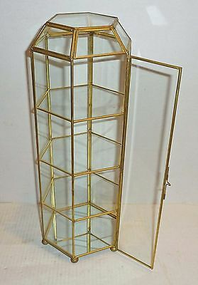 """Estate ~ Hexagon Brass & Glass Curio Display Tower 16.5"""" Tall with MIRROR BOTTOM"""