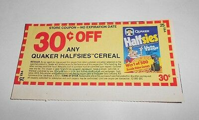 Vintage Quaker Halfsies Cereal Store Coupon No Expiration Date Full Color 1983
