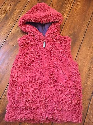 Mini Boden Girls Salmon Pink Fluffy Gillet Body warmer Age 4-5