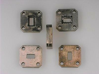 Lot of 5 used WR-28 Silver plated Brass flanges for soft solder assembly.