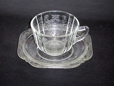Federal Glass Madrid Pattern Clear Depression Glass Cup And Saucer