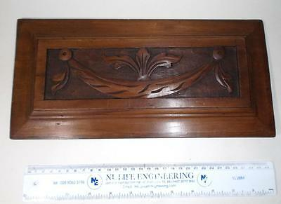 """antique CARVED WOOD scroll plaque, panel 13 1/4"""" long"""