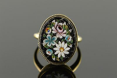14K 18x14mm Colorful Flower Oval Micro Mosaic Ring Size 6.25 Yellow Gold