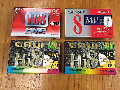 Selection of four brand new Hi 8 tapes