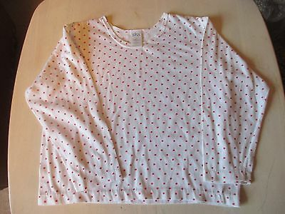 Vintage Retro BHS white red spotty long sleeve t-shirt top 140cm height age 9-10
