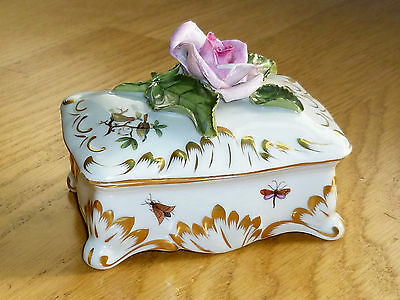 ANTIQUE Herend Porcelain Trinket Box Pink ROSE LID Gilded 11cm Insects 8474