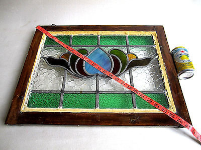 Antique Vtg Stained Glass Window Architectural Salvage 7 Color Panel 21x16