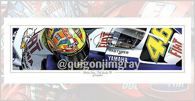 Valentino Rossi Fiat Yamaha M1 Art Print ***signed by the artist***