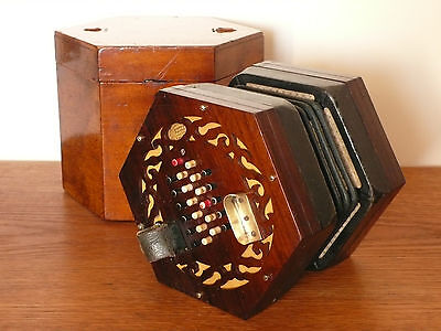 Vintage Wheatstone Concertina, built 1859, original condition, with origin. box