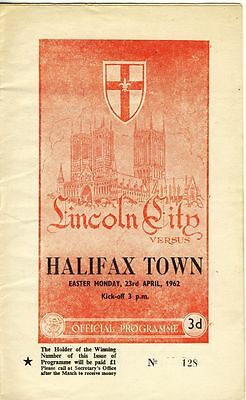 Lincoln City v Halifax Town Programme 1961/62