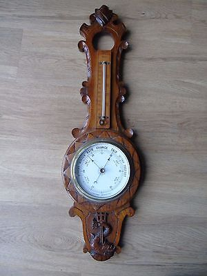 vintage carved oak barometer ,thermometer
