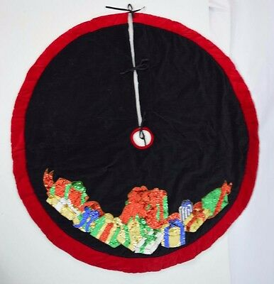 Vtg Plush Multi Color Sequin Beaded Velvet Christmas Tree Skirt Holiday Decor 54