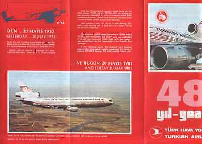 Thy  Turkish Airlines  1933-1981 Airline History Brochure