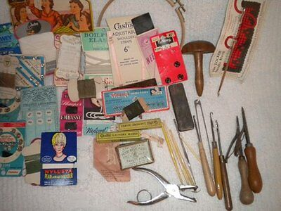 VINTAGE sewing and haberdashery.  Over 50 items