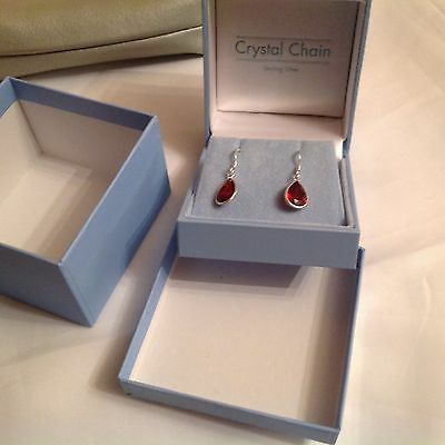 sterling silver earrings With Red Stone    ( Bought From   Crystal Chain)