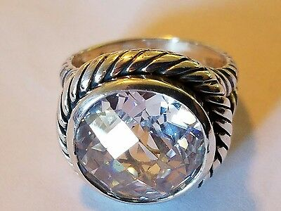 Rope Design Sterling Silver 925 Large CZ Ring Size 9 (11.4g)