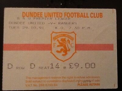 Dundee United v Rangers League Ticket October 1991