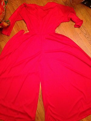VTG 70s RED Bell Bottom Holiday Party Disco WIDE LEG Palazzo Pant MAXI JUMPSUIT