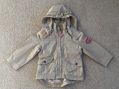 Palomino C&A 2 years beige jacket, coat hooded, with hearts EX