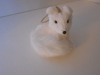 Cute! white artic fox ornament Christmas holiday faux fur tail new