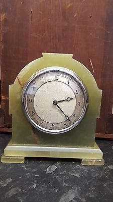 Vintage Green Marble Mantel Clock