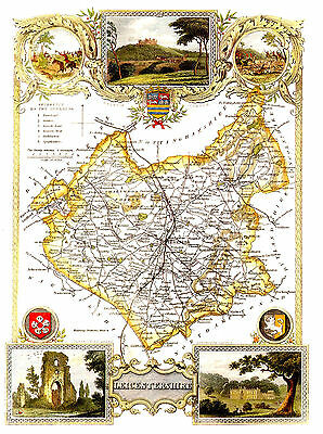 LEICESTERSHIRE    an 1830 THOMAS MOULE MAP
