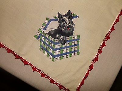 VTG TABLECLOTH with SCOTTIE DOG APPLIQUES & RED CROCHETED EDGE