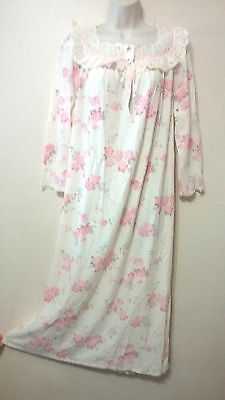 Vintage Union Made JCPenney Soft Knit Floral Lace Ruffle Prairie Long Nightgown