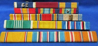 WWII Army, Navy, USMC Ribbon Bars Lot Of 4 - 15 Ribbons Total