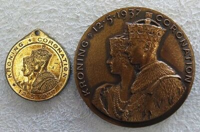 1937 Great Britain King George Vi Coronation Union Of South Africa Two Medal Set