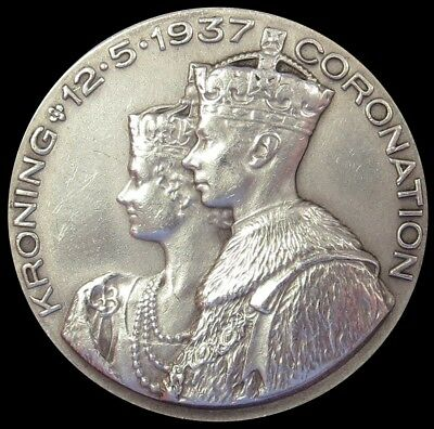 1937 Silver Great Britain George Vi Coronation Union Of South Africa 32 Mm Medal