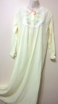 Vintage JCPenney Soft Brushed Knit Floral Lace Ruffle Prairie Long Nightgown M